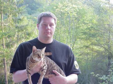 Me holding my Bengal Leopard Cat, Walter.